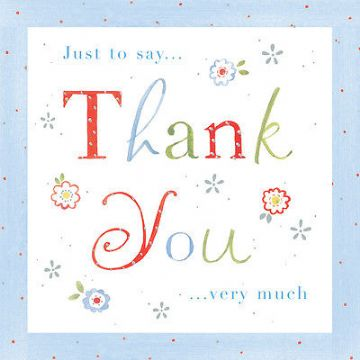 "THANK YOU CARD BLANK ""THANK YOU DESIGN"" SQUARE SIZE 4.75 X 4.75 INCH EFTH106"